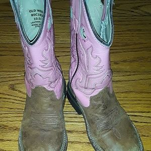 Girls Old Western pink cowgirl boots
